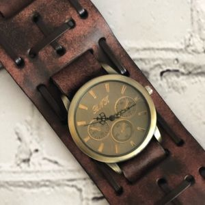 Men's Brown Braided cuff watch
